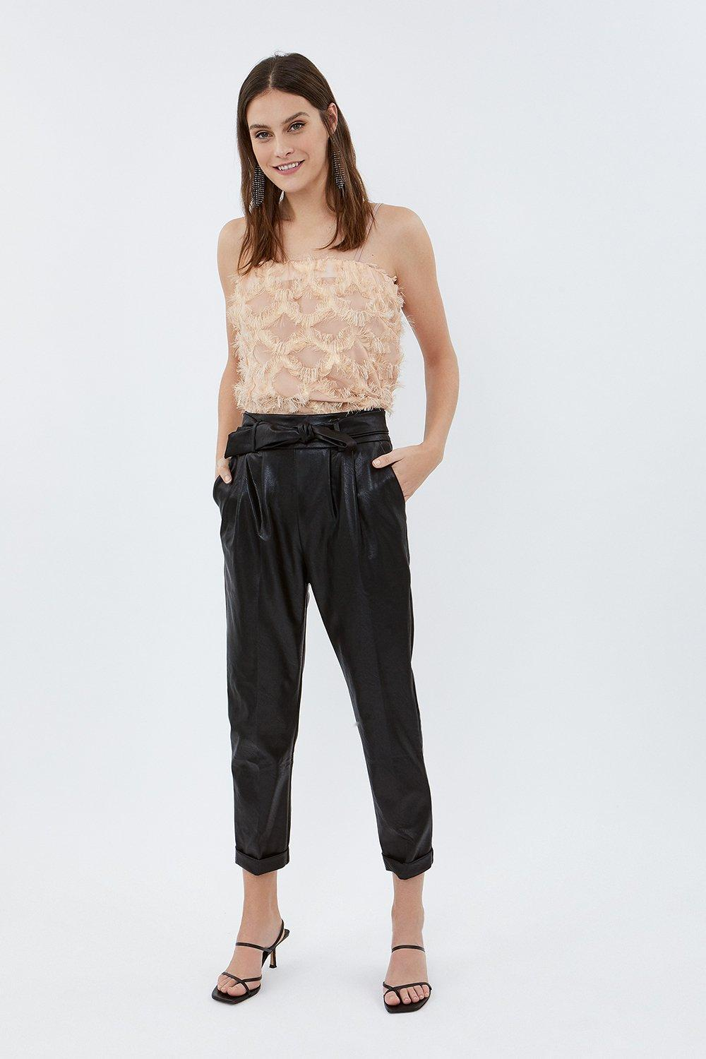 Coast Faux Leather Belted Trouser