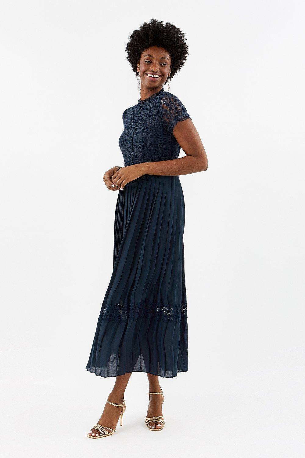 Coast Lace Bodice Pleat Skirt Maxi Dress