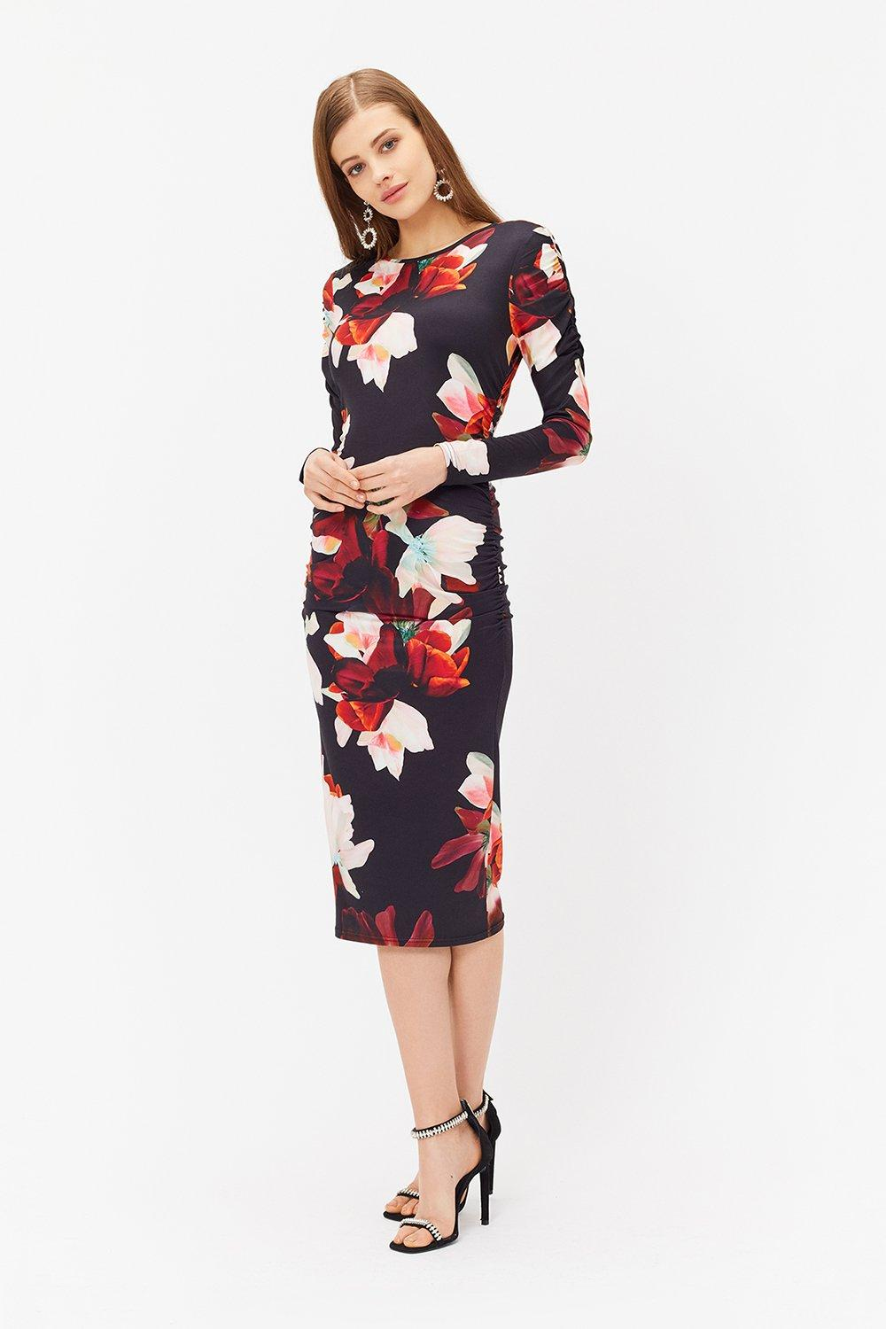 Coast Printed Jersey Ruched Dress