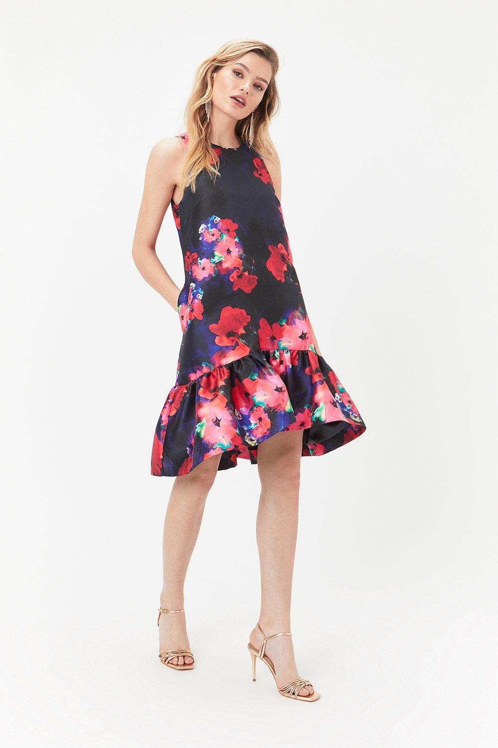 Coast Printed Peplum Hem Dress