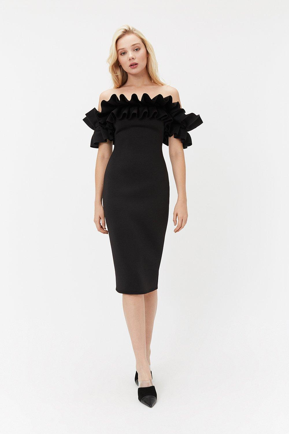 Coast Scuba Ruffle Bardot Dress