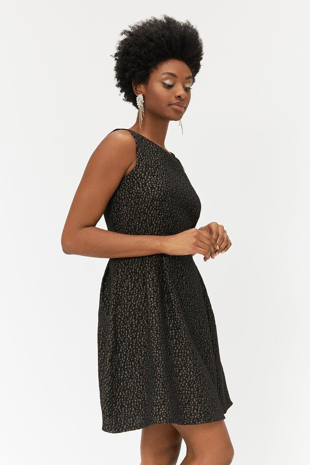 Coast Black & Gold Jacquard Dress